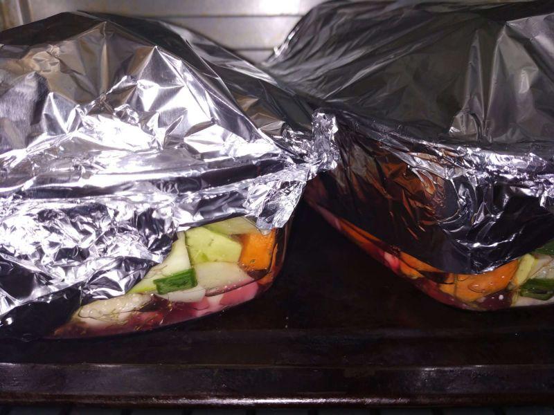 Crap cu legume în folie de aluminu