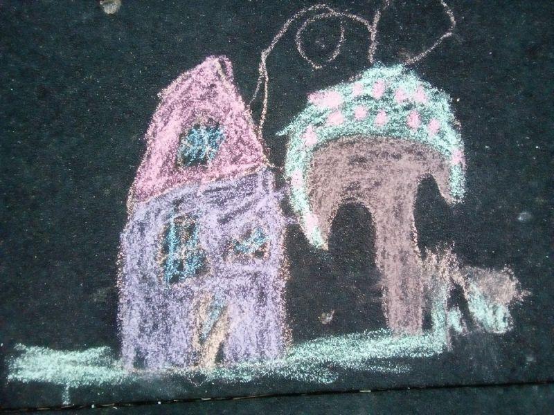 Căsuța și pomul cu fructe - desen pe asfalt