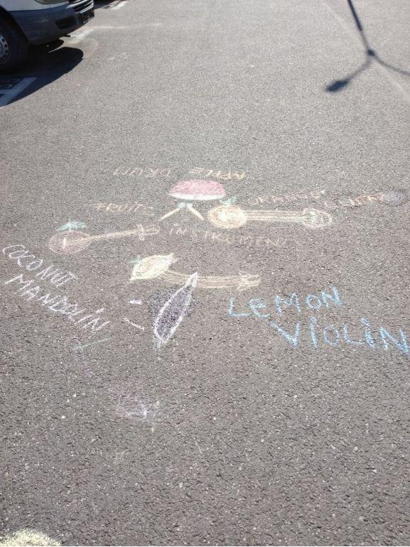 Instrumente din fructe - desen pe asfalt