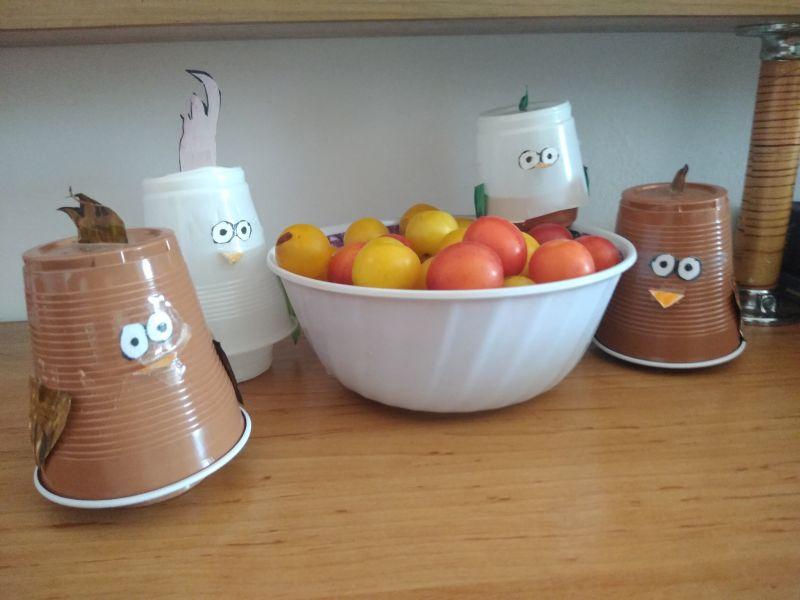 Fructe și păsări din pahare de plastic - crafts for children