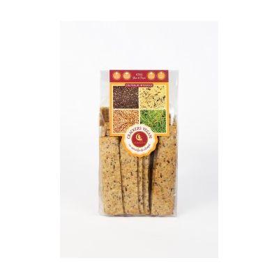 Crackers vegani cu semințe de cânepă, in și chia 125 g